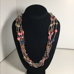 Multi Colored Plastic Beaded Necklace